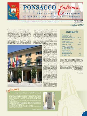 Ponsacco Informa n° 1 Anno 2006 (Luglio)